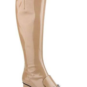 Gucci Camel Patent Leather Knee Boots with Silver Horsebit 362949 2612 (G 37 / US 7)