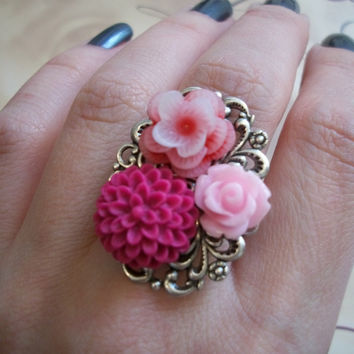 A Romantic Bouquet Ring  Pink Florals and by BellaLilyBoutique