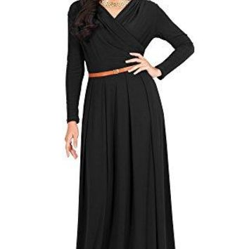 KOH KOH Womens Long VNeck Full Sleeve Semi Formal Flowy Evening Cute Maxi Dress