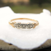 Art Deco Wedding Band, Old Rose Cut Diamonds, Sweet Heart Design in 14K Gold, Ring o' Romance
