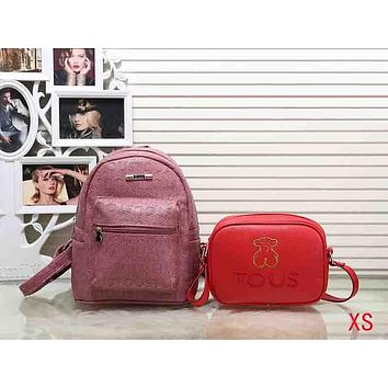 TOUS Woman Men Fashion Leather Backpack Crossbody Shoulder Bag Satchel Set Two Piece