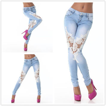 White Floral Crochet Thigh Patch Denim Pants