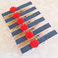 Frayed Blue Demin with Red Roses Clothespins with Magnets, Thumbtacks, or Plain for Refrigerator, Fridge, Cubicle Decor, Photo Hangers