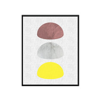 Scandinavian Design, Abstract Wall Art, Geometric Print, Mid Century Modern,Minimalist Decor,Poster Art, Grey Yellow Brown, Nursery Wall Art