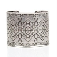 Antique Silver Tribal Cuff Bracelet