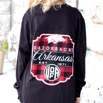 AR Razorbacks Buffalo Plaid Jersey Shirt {Black}