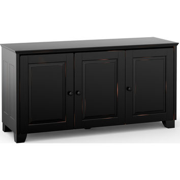 Hampton 65 Inch TV Stand Cabinet Extra Tall Distressed Black