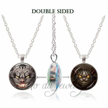 2018 New Alice Adventures in Wonderland Double Face Necklace Charms Jewelry Cheshire Cat Pendant Glass Dome Necklaces