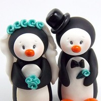 Penguins Couple Polymer Clay Figurines by HeartshapedCreations