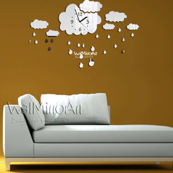 Modern wall clock, mirror wall clock,  rainy Shatterproof  mirror, unique living room wall clock