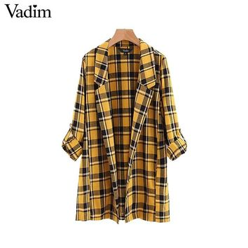 Vadim women yellow plaid loose long blazer checkered pockets notched collar long sleeve split female oversized tops CA103