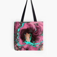 'Purple and cyan marble texture.' Tote Bag by kakapostudio