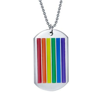 new Rainbow Pendant Necklace for Woman Stainless Steel Choker Gay and Lesbian LGBT Pride Jewelry Parade Demonstration gift