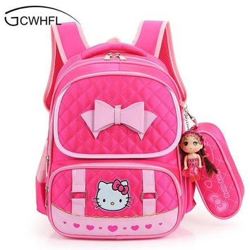 CREYCI7 Hello Kitty School Backpacks For Children Nylon Girls Princess School Bag Waterproof Kids Satchel Girl Schoolbag mochila escolar