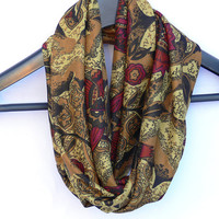 Floral Circle Scarf. Infinity Scarf. Women Accessories