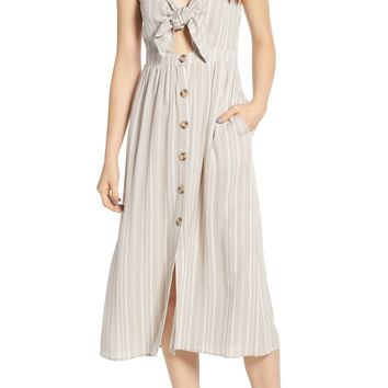 Mimi Chica Button Front Keyhole Dress | Nordstrom