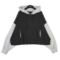 Laced Layer Contrast Hoodie   FashionShop【STYLENANDA】