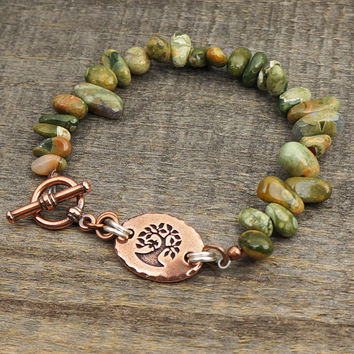 Green tree bracelet, multicolor semiprecious stone rhyolite beads, mixed metals, 7 1/4 inches