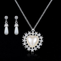 White Freshwater Heart Pearl Necklace Earrings  Unique Gifts