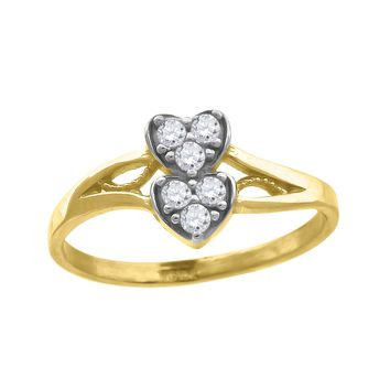 Round Cut CZ Two Hearts Love Promise Ring in 10k Yellow Gold