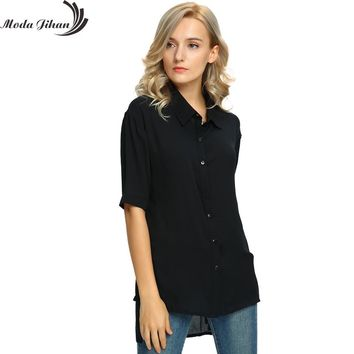 Moda Jihan Women's Chiffon Half Sleeve Button Down Casual Shirt Blouse Top Women Blouse For Office Wear Female Clothes