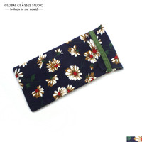 New Hot Selling Soft Cloth Bag Sunglasses Glasses Pouches Blue Yellow Flower Reading Glass Bag & Small Sunglass Pouches BDH05