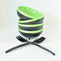 Set of 4 Reineck Therm-O-Bowls Bolero Salad Bowls Green & Black w/ Salad Fork and Spoon - 7303