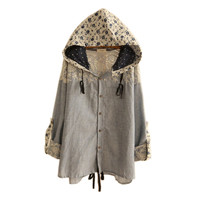Women's Blue Floral Lace Hallow Out Hooded Loose Blouse,Cape