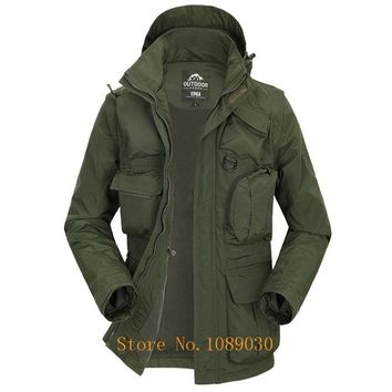 2018 AFS JEEP Military Jacket Men Multi-pockets Hat & Sleeves Detachable Waterproof Jacket Autumn Male Outerwear Windbreaker