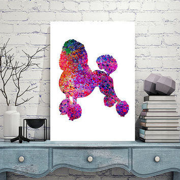 French Poodle dog Print, French Poodle Dog Wall Art, Poodle Poster, Dog watercolor Illustration, Wall Hanging Vertical Poster Home Decor