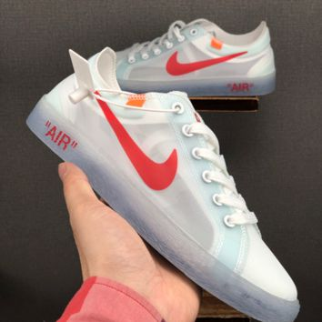 HCXX 19June 1224 Off White Nike Blazer MID Breathable Fashion Grenadine Casual Skateboard Shoes white red