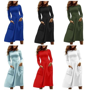 Womens Casual Long Sleeve Fit And Flare Midi Skater Dress With Pockets, Small - 2XLarge