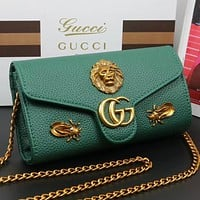 GUCCI New fashion leather chain shoulder bag crossbody bag Green