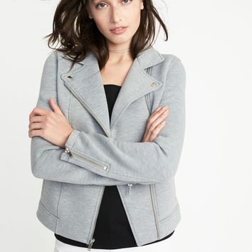 Fleece-Knit Moto Jacket for Women | Old Navy