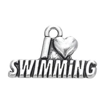 Swimming Pool beach Skyrim 20pcs/lot I Love SWIMMING & VOLLEYBALL & NO WAR Necklace & Bracelets Accessories Charms DIY Vogue Jewelry MakingSwimming Pool beach KO_14_1