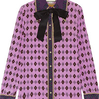 Gucci - Bow-embellished printed silk crepe de chine shirt
