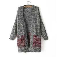 Sweater Vintage With Pocket Plus Size Three-quarter Sleeve Knit Tops Jacket [8216432961]