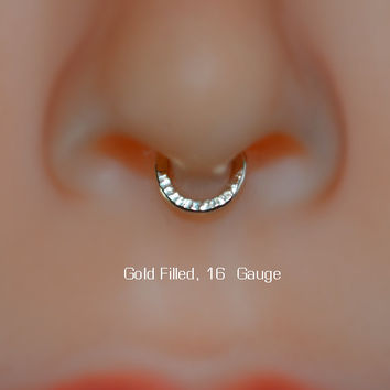 Septum Ring, Extra Small Nose Ring, 14k Gold Filled Hoop Earring, cartilage, tragus, helix 16g handcrafted/handmade nose rings 16 gauge