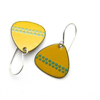 Handmade Mustard Yellow Earrings with Green Polka Dots, Enamel Jewelry, Copper and Sterling Silver / europeanstreetteam