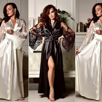Summer Women Sexy Silk Satin Robes Long Sleeve Deep V Bathrobe Pajamas Robe Lace Bandage Sleepwear Nightwear New