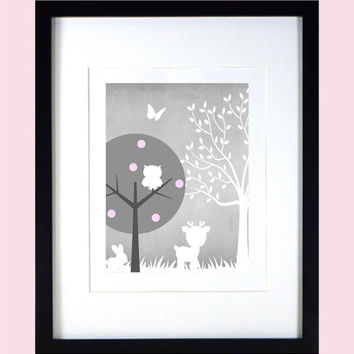 Gray Baby Pink White Enchanted Forest Animals, CUSTOMIZE YOUR COLORS, 8x10 Prints modern art nursery decor nursery print art baby room decor