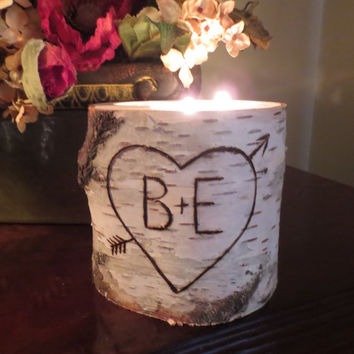 Large Personalized Birch 3 Tea Light  Candle Holder Wedding Centerpieces Home Decor  Bridal Shower Decor  Wedding