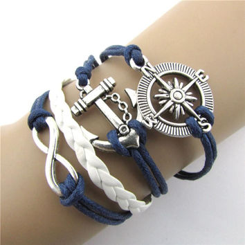 2016 Hot Hot Infinity Love Anchor Compass PU Leather Charm Bracelets Plated Silver Good-looking JUN 21