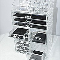 Unique Home Acrylic Jewelry & Cosmetic Storage Makeup Organizer, 4 Piece Set