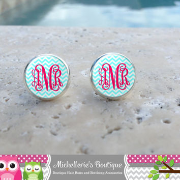 Tiffany Blue Chevron and Hot Pink Monogram Earrings,Monogram Jewelry,Monogram Accessories,Monogram Studs,Monogram Leverback,Monogram Gifts