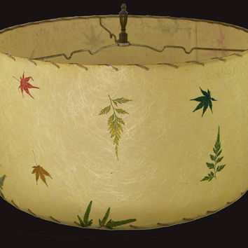 Vintage 1950s Fiberglass Lamp Shade - Ferns, Flowers, Leaves, & Petals - Pristine Lacing and Shade
