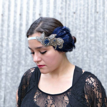 The Great Gatsby 1920s Headband Roaring 20s Flapper Headband, Downton Abbey Headpiece Flower Beaded Headband Navy Blue Feather Fascinator