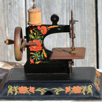 Antique German Casage Toy Sewing Machine with Case Clamp & Instructions