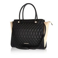 River Island Womens Black quilted tote bag