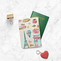 Paris Effel Tower Pink Leather Passport Cover - Vintage Passport Wallet - Travel Accessory Gift - Travel Wallet for Women and Men _Mishkaa